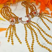 Huge Vintage Amber/Orange Crystal/Rhinestone Runway Statement Necklace/Earrings