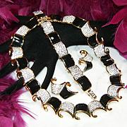 SWAROVSKI~Swan Signed~Amazing Vintage Black Enamel/Crystal Runway Necklace/Bracelet/Earrings