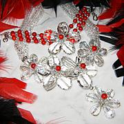 Swarovski~Amazing Vintage Clear Crystal/Glass/Red Bead Flower Statement Necklace/Bracelet