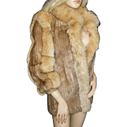 CASKIE FABULOUS~XS/S~Stunning Vintage Beige/Blond Mink/Fox Fur Coat/Jacket