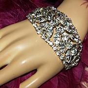 ANN VIEN~Stunning Vintage Huge Crystal/Rhinestone Runway Statement Bracelet