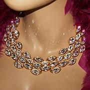 NAPIER~Huge Stunning Vintage Swarovski Crystal/Rhinestone Runway Statement Bib Necklace