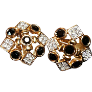 New Vintage~$85~SWAROVSKI Swan Signed Stunning Black/Clear Crystal Clip Earrings