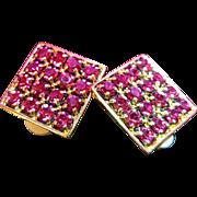 SIGNED SWAROVSKI~Stunning Vintage Large Pink Crystal Runway Statement Clip Earrings