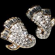 A&S ATTWOOD & SAWYER~Stunning Vintage Swarovski Crystal/Rhinestone Clip Earrings