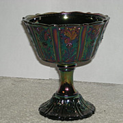 SOLD 1970's, Fenton, Black Amethyst, Paneled Daisy, Carnival Glass Compote - Red Tag Sale Item