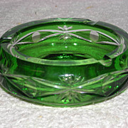 SOLD Bohemian, Green Cut to Clear, Ash Tray