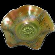 Northwood, Green, Poppy Variant, Carnival Glass Bowl
