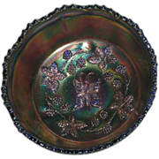 Fenton, Cobalt Blue, Butterfly & Berry, Small, Carnival Glass Berry Bowl