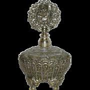 Large, Silvertone & Glass, Perfume Bottle W/Glass Dauber