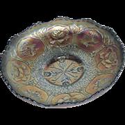 Blue, Fenton, Dragon & Lotus, ICS, Carnival Glass Bowl