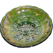 Millersburg, Green, Mayan, Carnival Glass Bowl