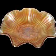"Large, Northwood, 10 1/2"", Marigold, Smooth Rays Carnival Glass Bowl"