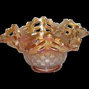 Fenton, Marigold, Two Row, Open Edge Basketweave, Ruffled Carnival Glass Hat Vase
