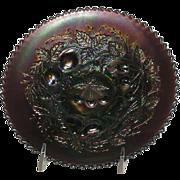 Northwood, Amethyst, Plain Back, Three Fruits Carnival Glass Plate