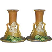 Pair, Roseville Art Pottery, Primrose  Candle Sticks