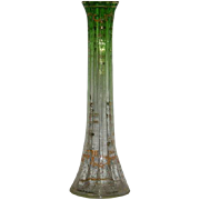 Moser, Green, Enamel and Gold Decorated Bud Vase