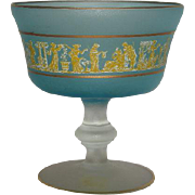 Large, Blue and Clear, Greek Scene and Gold Trimmed, Satin Compote