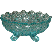 Aqua, Daisy and Button, Footed, Oval Candy Dish