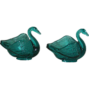 Pair, Fenton, Blue, Swan Salts
