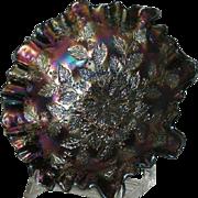 Blue, Fenton, Holly, Carnival Glass Bowl, 3-n-1 Edge