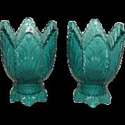 Pair, Fenton, Teal/Blue, Leaf Pattern Candle Sticks
