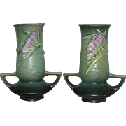 "Pair, Green, Roseville Art Pottery, 119-7"" Freesia Vases"