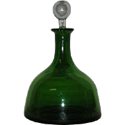 Green, Blenko Art Glass,Crackle Glass Decanter