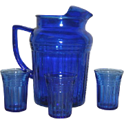 SOLD Cobalt Blue, Hazel Atlas, Mid Century 4 Pc. Water Set
