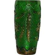 U.S. Glass Co., Green  W/Gold Trim, Delaware Vase