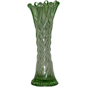 Dugan, Wide Panel/Twisted Rib, Green Uranium Glass Mid-Size Vase