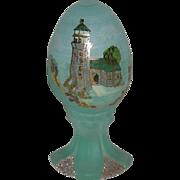 Fenton, Satin, Aqua Blue, Hand Painted Lighthouse Scene Egg