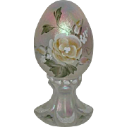 Fenton, Handpainted, White Opalescent Carnival Glass Egg