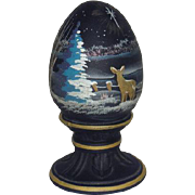 Fenton, Satin Finished, Handpainted, Cobalt Blue, Christmas Scene Egg