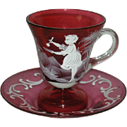 Cranberry, Mary Gregory, Cup and Saucer