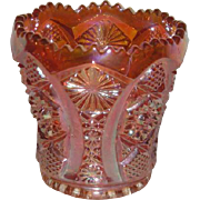 Imperial, Marigold, Octagon, Carnival Glass Toothpick Holder