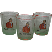 Three, Hand Painted, Czechoslovakian, Whiskey Glasses