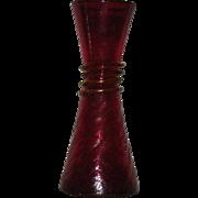 Red, Blenko Art Glass, Crackle Glass Vase W/Applied Yellow Snake Decoration