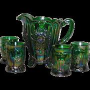 Mosser, Emerald Green, Dahlia, Five Piece Carnival Glass Water Set