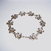 Sterling Silver Hand Cast Flower - Bracelet