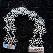 Sterling Silver Flower Filigree Clasp  - Bracelet
