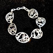 Sterling and Fine Silver Filigree Oval Link Bracelet
