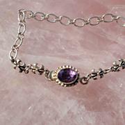 Sterling Silver Fleur De Lys and Amethyst Box Clasp  - Bracelet