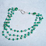 Sterling Silver Green Onyx and Emerald  Bracelet