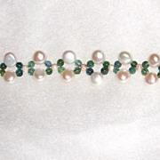 Fresh Water Pearl and Tourmaline beaded Bracelet