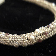 Sterling Silver Viking Knit Garnet  & FW Seed Pearl Jeweled Bracelet