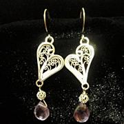 Sterling and Fine Silver Amethyst Filigree Heart Earrings