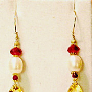 Trillion Citrine, Ruby and FW Pearl 14K Gold Filled Earrings