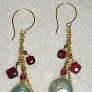 Fresh Water Coin Pearl with Square Garnets - Earrings