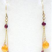 14K Gold Multi-Garnet drops Earrings